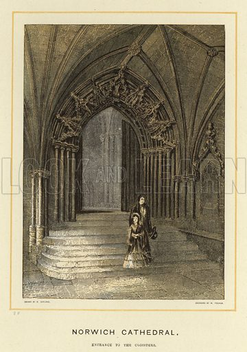 Norwich Cathedral, entrance to the cloisters. Illustration for Our National Cathedrals (Ward Lock, c 1890).