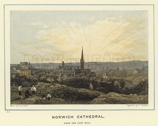 Norwich Cathedral, from the East Hill. Illustration for Our National Cathedrals (Ward Lock, c 1890).