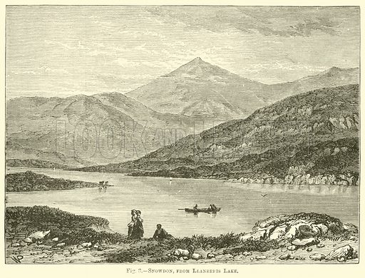 Snowdon, from Llanberis Lake. Illustration for Science For All by Robert Brown (Cassell, c 1890).