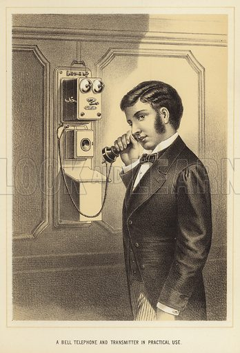 A Bell telephone and transmitter in practical use