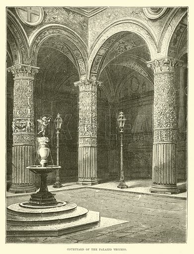 Courtyard of the Palazzo Vecchio. Illustration for The World its Cities and Peoples by Edwin Hopper (Cassell, c 1890).