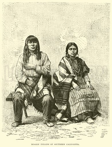 Mission Indians of Southern California. Illustration for The World its Cities and Peoples by Edwin Hopper (Cassell, c 1890).