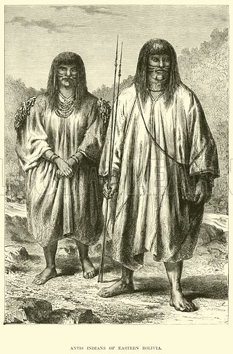 Antis Indians of Eastern Bolivia. Illustration for The World its Cities and Peoples by Edwin Hopper (Cassell, c 1890).