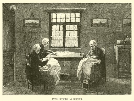 Dutch interior at Katwijk. Illustration for The World its Cities and Peoples by Edwin Hopper (Cassell, c 1890).