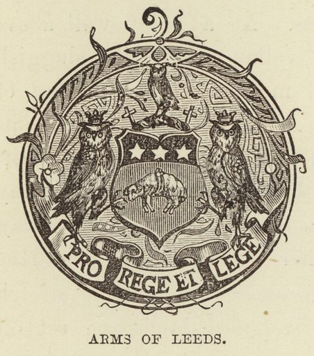 Arms of Leeds. Illustration for The World its Cities and Peoples by Edwin Hopper (Cassell, c 1890).