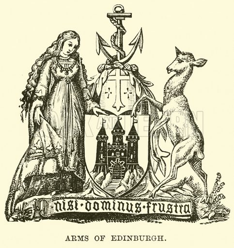Arms of Edinburgh. Illustration for The World its Cities and Peoples by Edwin Hopper (Cassell, c 1890).
