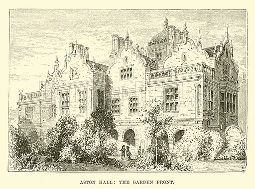 Aston Hall, the garden front. Illustration for The World its Cities and Peoples by Edwin Hopper (Cassell, c 1890).