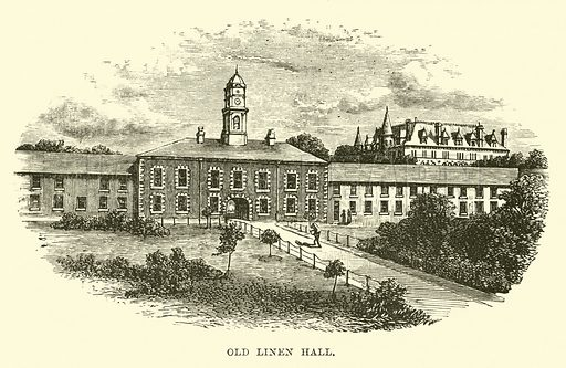 Old Linen Hall. Illustration for The World its Cities and Peoples by Edwin Hopper (Cassell, c 1890).