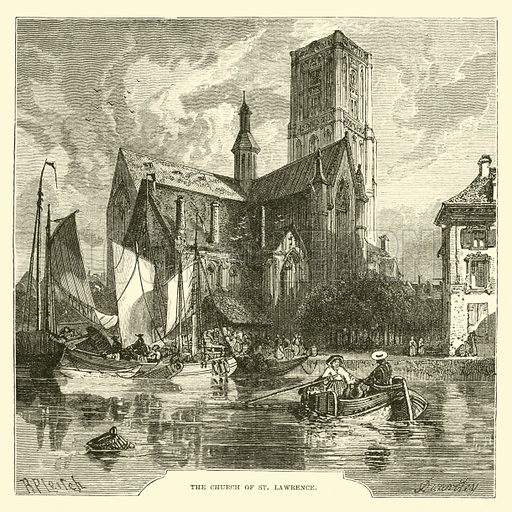 The Church of St Lawrence. Illustration for The World its Cities and Peoples by Edwin Hopper (Cassell, c 1890).