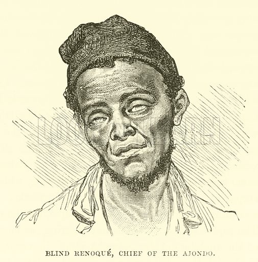 Blind Renoque, Chief of the Ajondo. Illustration for The World its Cities and Peoples by Edwin Hopper (Cassell, c 1890).