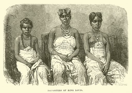 Daughters of King Louis. Illustration for The World its Cities and Peoples by Edwin Hopper (Cassell, c 1890).