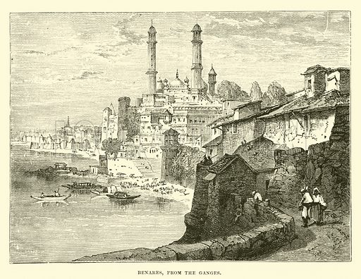 Benares, from the Ganges. Illustration for The World its Cities and Peoples by Edwin Hopper (Cassell, c 1890).