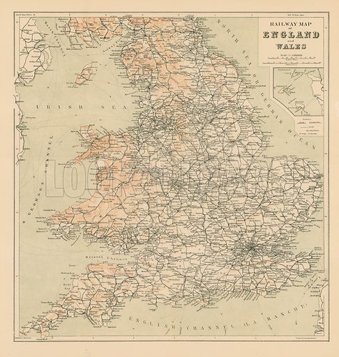 Railway Map of England and Wales. Retouched version.