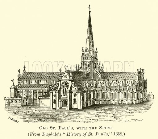 Old St Paul's with the Spire. Illustration for Shorter English Poems by Henry Morley (Cassell, c 1885).