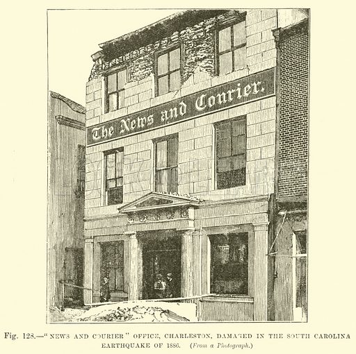 """""""News and Courier"""" Office, Charleston, damaged in the South Carolina Earthquake of 1886, from a Photograph. Illustration for Our Earth and Its Story edited by Robert Brown (Cassell, c 1890)."""