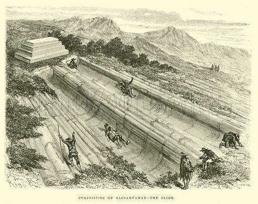Curiosities of Sacsahuaman, the slide. Illustration for Travels in South America by Paul Marcoy (Blackie, 1875).