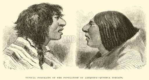 Typical portraits of the population of Arequipa, Quichua Indians. Illustration for Travels in South America by Paul Marcoy (Blackie, 1875).