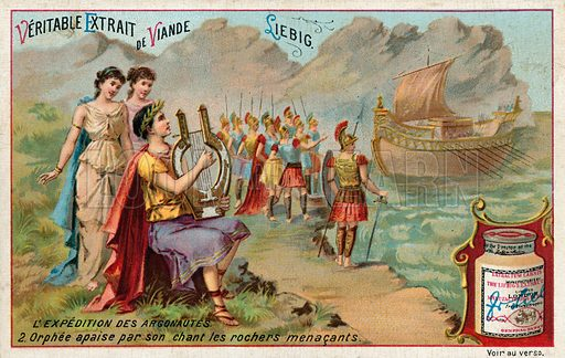 Orpheus playing his lyre. Liebig card, from a series on the quest of Jason and the Argonauts, published in late 19th or early 20th century.
