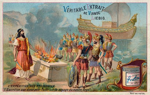 Sacrifice to the Gods to aid the Argo in its voyage. Liebig card, from a series on the quest of Jason and the Argonauts, published in late 19th or early 20th century.