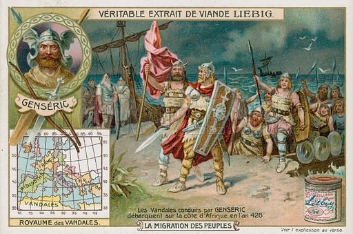 The Vandals led by Genseric land on the coast of Africa, 428. Liebig card, from a series on the migrations of the Barbarians, published in late 19th or early 20th century.