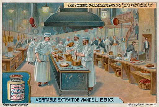 Huge kitchen of a large modern hotel. Liebig card, from a series on the culinary arts among various peoples, published in late 19th or early 20th century.