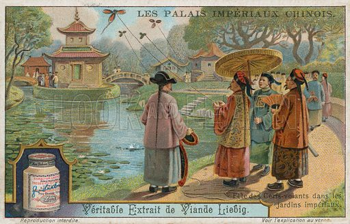 Kite flying festival in the imperial gardens, China. Liebig card, from a series on Chinese imperial palaces, published in late 19th or early 20th century.
