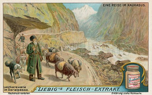 Caravan in the Darial Gorge, Russia. Liebig card, from a series on a journey in the Caucasus, published in late 19th or early 20th century.