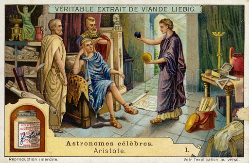 Aristotle (384-322 BC), Ancient Greek philosopher and scientist. Liebig card, from a series on famous astronomers, published in late 19th or early 20th century.