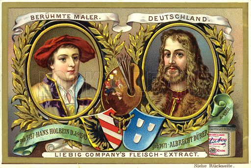 Hans Holbein (1497-1543) and Albrecht Durer (1471-1528), German artists. Liebig card, from a series on famous painters of various countries, published in late 19th or early 20th century.
