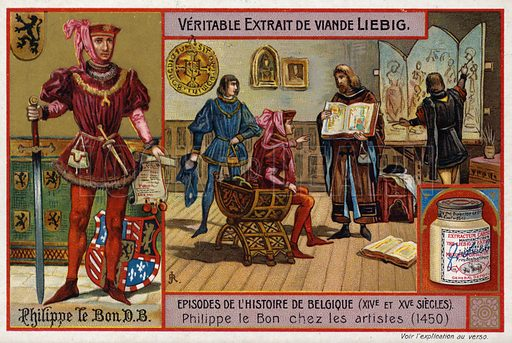 Philip the Good, Duke of Burgundy, meeting with artists, 1450. Liebig card, from a series on episodes from the history of Belgium in the 14th and 15th Centuries, published in late 19th or early 20th century.