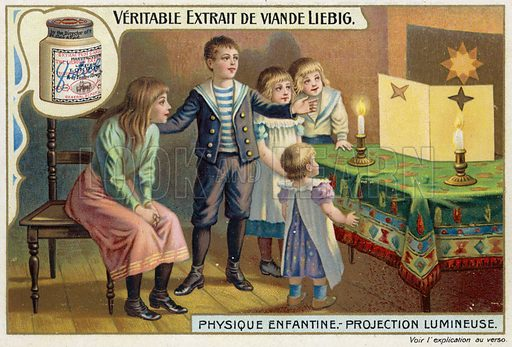 Light projection. Liebig card, from a series on physics experiments for children, published in late 19th or early 20th century.