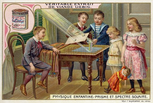 Using a prism to demonstrate the spectrum of sunlight. Liebig card, from a series on physics experiments for children, published in late 19th or early 20th century.