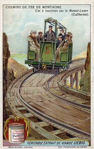 Tourist car on the Mount Lowe Railway, California. Liebig card, from a series on mountain railways, published in late 19th or early 20th century.