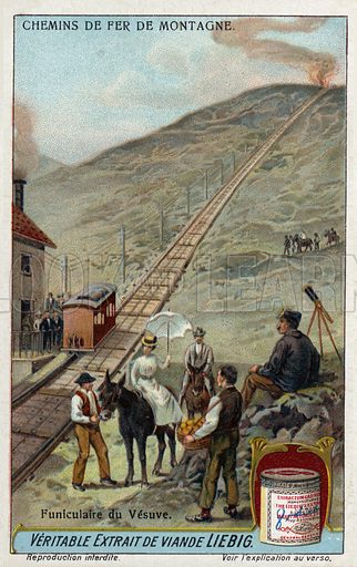 Vesuvius funicular railway, Italy. Liebig card, from a series on mountain railways, published in late 19th or early 20th century.