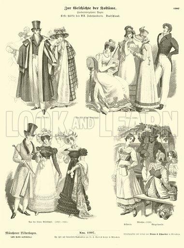 German costumes, first half of 19th Century. Illustration for Zur Geschichte der Kostume (Braun & Schneider, c 1895).