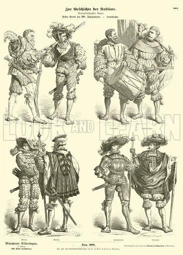 German Landsknechte (mercenary soldiers), early 16th Century. Illustration for Zur Geschichte der Kostume (Braun & Schneider, c 1895).