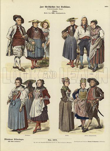 Swiss costumes, late 18th Century. Illustration for Zur Geschichte der Kostume (Braun & Schneider, c 1895).