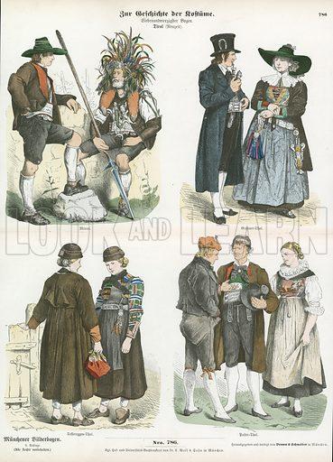 Costumes of the Tyrol, 19th Century. Illustration for Zur Geschichte der Kostume (Braun & Schneider, c 1895).