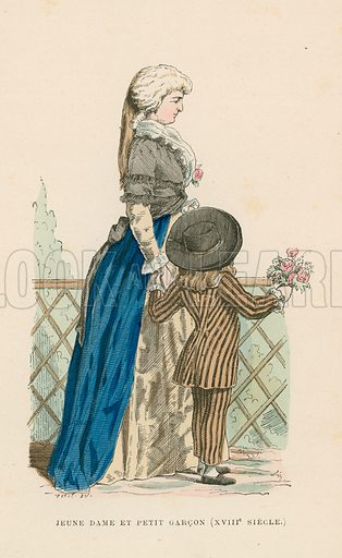 Young woman and small boy, 18th Century. Illustration for Costumes Civils et Militaires des Francais a Travers Les Siecles (Roy, 1881).