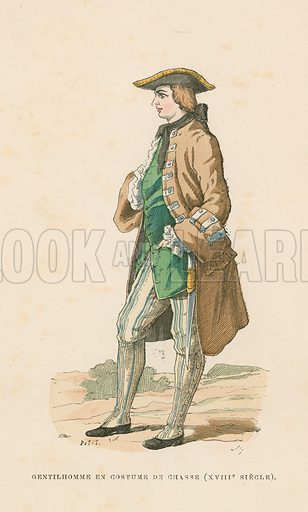 Gentleman in hunting dress, 18th Century. Illustration for Costumes Civils et Militaires des Francais a Travers Les Siecles (Roy, 1881).