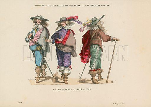 Gentlemen of 1615–1630. Illustration for Costumes Civils et Militaires des Francais a Travers Les Siecles (Roy, 1881).