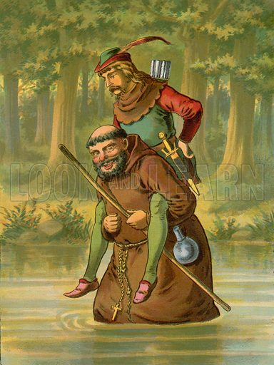 Friar Tuck carries Robin Hood over the water