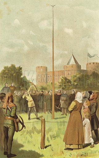 Bird shooting, Netherlands, 14th Century. Illustration for Het Leven Van Onze Voorouders by N de Roever and G J Dozy (Van Holkema & Warendorf, c 1900).