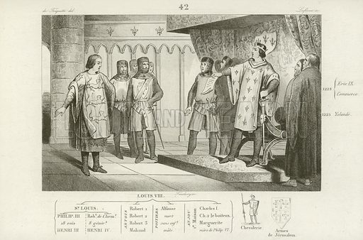 Louis VIII of France receiving an envoy from his enemy, Henry III of England. Louis replying with pride to the demand that lands lost to the French during the reign of King John be returned to the English. Illustration from Histoire de France by M Colart.