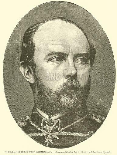 Prince Friedrich Karl of Prussia (1828–1885), commander of the German Second Army, Franco-Prussian War, 1870-1871. Illustration for Deutsch-Franzosische Krieg by Egmont Fehleisen (Reutlingen, c 1895).