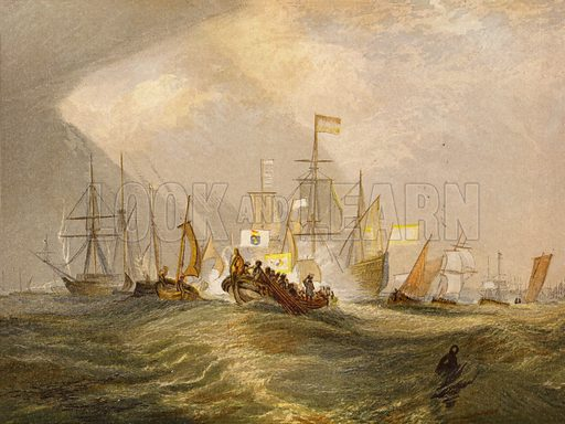 Landing of the Prince of Orange. Illustration for Gems of English Art (Routledge, 1869). Painted in colours by Leighton Brothers.