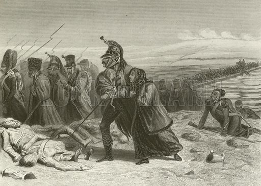 The retreat from Moscow, Passage of the Berezyna. Illustration for The National and Domestic History of England by WHS Aubrey (Hagger, c 1880).
