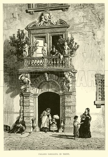 Palazzo Sardagna in Trent. Illustration for Italy from the Alps to Mount Etna (Chapman and Hall, 1878).