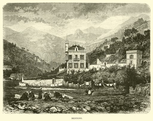 Mentone. Illustration for Italy from the Alps to Mount Etna (Chapman and Hall, 1878).