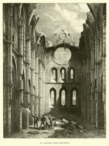 St Galgano near Chiusdino. Illustration for Italy from the Alps to Mount Etna (Chapman and Hall, 1878).